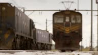 Trains line up at a railroad station. Available in HD.