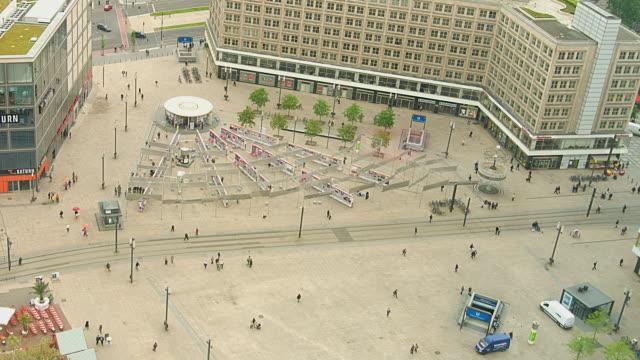 T/L WS HA ZO Trams and people on Alexanderplatz / Berlin, Germany