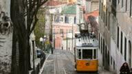 T/L, MS, Trams on Elevador da Gloria, Lisbon, Portugal