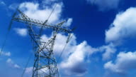 Transformer pylon with cloud timelapse