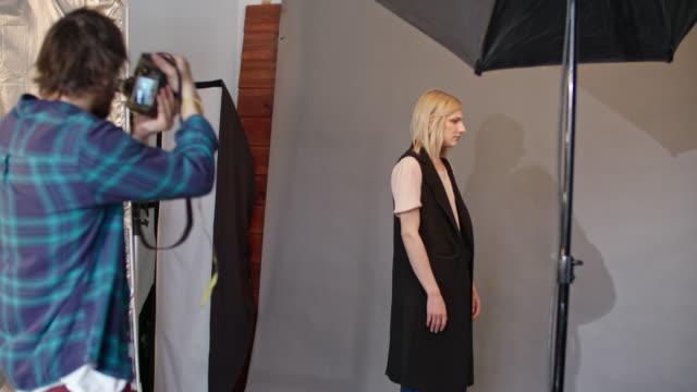 Transgender person posing for photo shoot