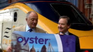 Oyster cards Ken Livingstone posing with outsize Oyster card ENGLAND London St Pancras Station PHOTOGRAPHY * * General views of Eurostar train at...