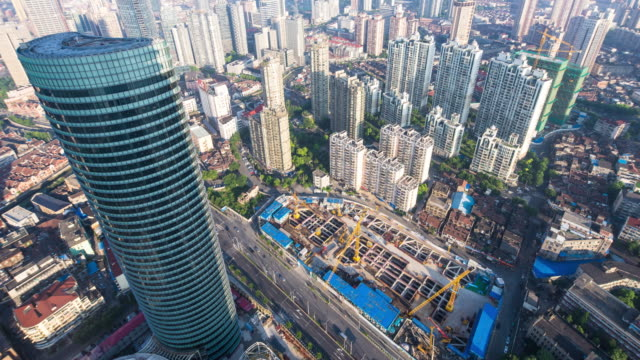 transportation and buildings in Shanghai time lapse 4k