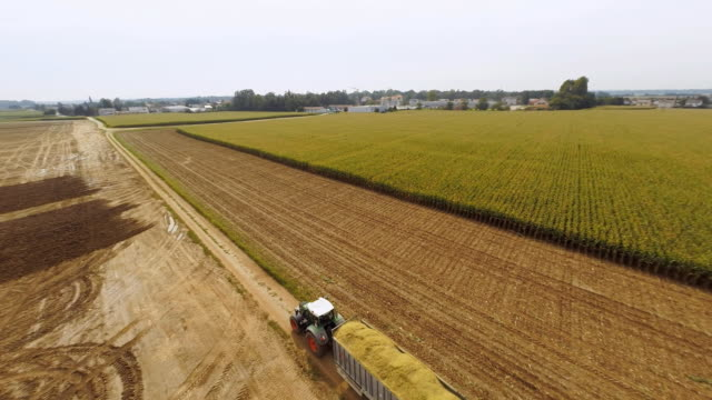 AERIAL Transporting A Trailer Of Corn