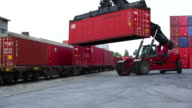 Transshipping containers at inland container terminal
