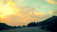 Travel. Beautiful sunset on the road.
