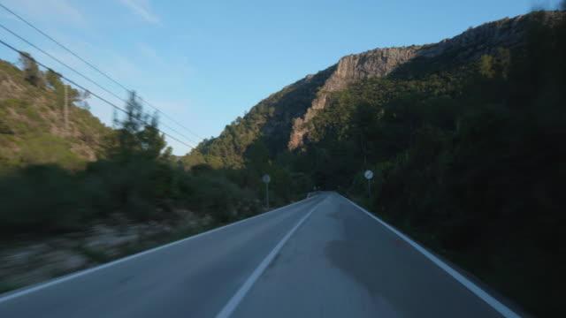 travel shot, highway through the mountainous Gallinera Valley