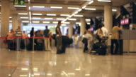 Traveler Crowd at Airport Check In Counter Hall time lapse