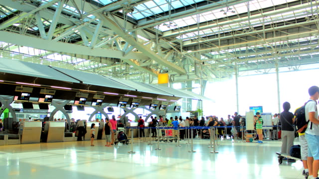 Traveler Crowd at Airport Time lapse