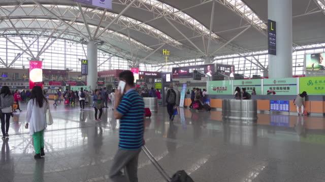 Travelers at airport/Xi'an, Shaanxi, China