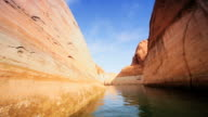 MS POV Traveling through lake in red sandstone cliffs / ARIZONA,United States