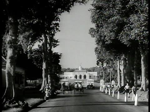 Tree lined street w/ cars horse carriage European design building distant BG GovernorGeneral of Dutch West Indies Alidius Tjarda van Starkenborgh...
