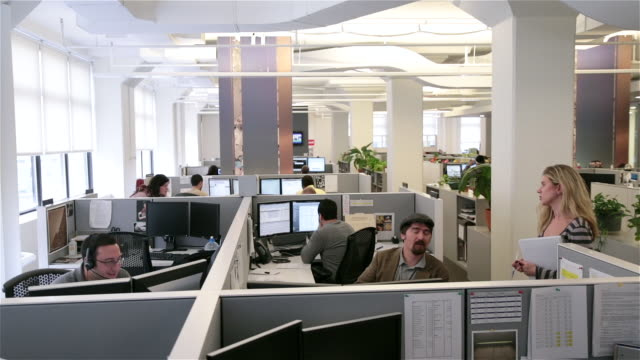 Trendy office worker chats with female supervisor, corporate personnel work in multiple cubicles (wide, dolly shot)