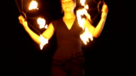 Tribe dance with fire