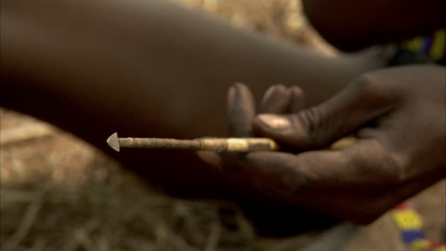 A tribesmen handles a dart and twirls the end in his mouth. Available in HD