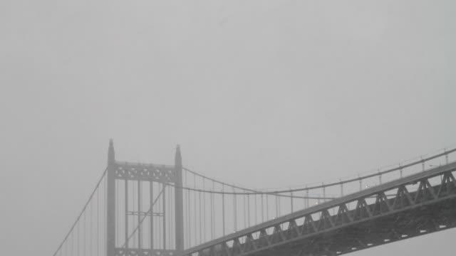 MS TD Triborough Bridge (Robert F. Kennedy Bridge) and East River in snow / New York City, New York, USA