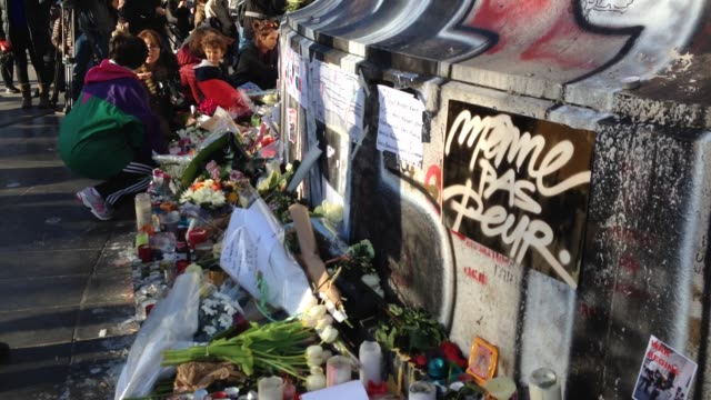 Tributes being laid out after the Paris attacks at Paris attacks aftermath on November 15 2015 in Paris France