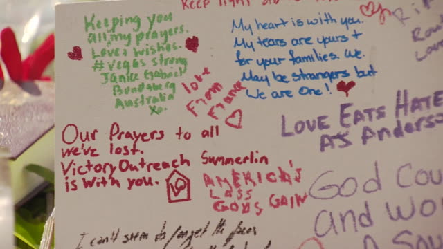 Tributes left to victims of the Las Vegas mass shooting at Mandalay Bay