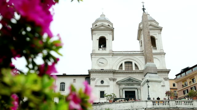 Trinita dei Monti Church from Spanish Steps in Rome