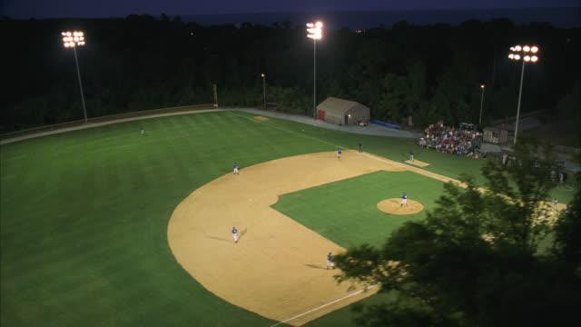 AERIAL WS Triple-A baseball game in progress
