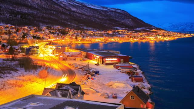 Tromso Cutyscape in winter at dusk, Troms, Norway
