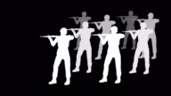Troop of Soldiers Shooting Silhouette (Loopable)