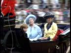 Trooping the colour ENGLAND London Horseguards Parade LMS Queen Elizabeth II in open top coach LR MS Queen Mother with Princess of Wales and Prince...
