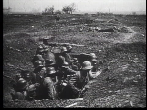 WWI Troops Waiting in Trenches