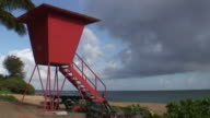 (HD1080i) Tropical Orange Lifesaver Beach Tower, Zoom Out