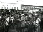 MS Trotsky speech from car soldiers on horses crowd holding banners AUDIO/ Russia