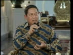 INT Susilo Bambang Yudhoyono speaking from Presidential Palace SOT It is a good beginning it is a new beginning/ we will be doing our best in...