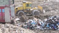 A truck is seen unloading nonrecyclable rubbish onto a landfill waste site operated by Biffa Group Ltd near Redhill Biffa Group landfill site on...