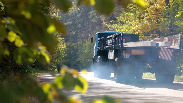 Truck on a forest road. Pollution of the environment.