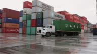 'WS A truck passes shipping containers at Paranagua Port / Paranagua, Brazil'