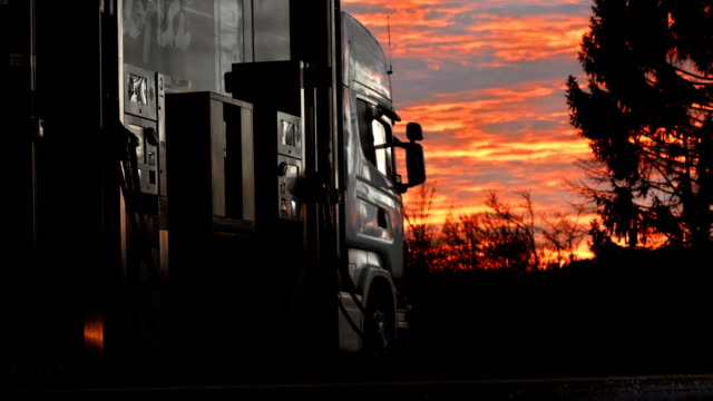 HD: Truck Stop At Sunset