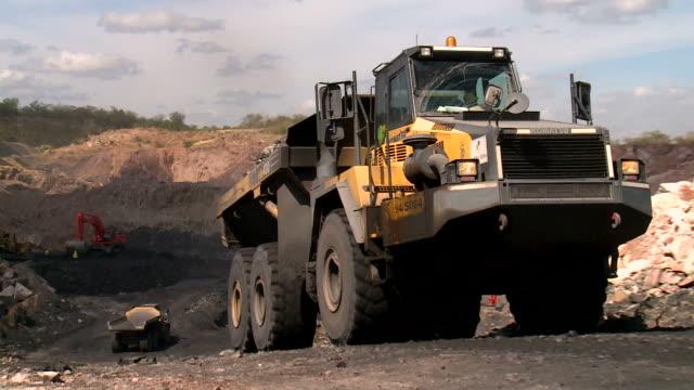 truck transporting coal in a coal mine