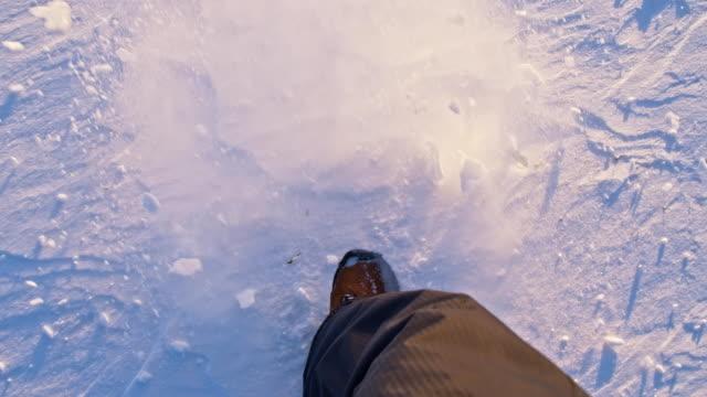 SLO MO Trudging Through The New-fallen Snow