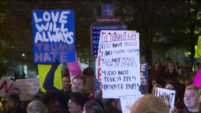 WXIN Trump Protesters March Down Streets of Downtown Indianapolis Indiana on Nov 12 2016
