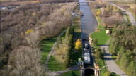 Tugboat In Lock 20 State Canal Park  - Aerial View - New York,  Oneida County,  United States