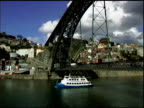 Tugboat under bridge on Douro river in Porto Portugal