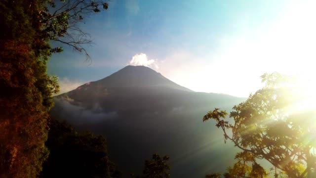 tungurahua volcano in ecuador timelapse without snow sunset
