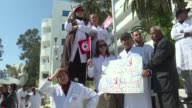 Tunisian doctors protested on Thursday the arrests and convictions of colleagues for medical error