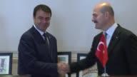 Tunisian Interior Minister Hadi alMajdoub meets with Turkish Interior Minister Suleyman Soylu in Ankara Turkey on August 03 2017