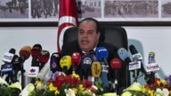 Tunisian Interior minister Mohamed Najem Gharsalli speaks to the media over the Bardo National Museum attack in Tunis Tunisia on March 26 2015...