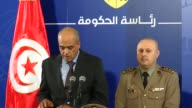 Tunisian Interior Ministry spokesman Yasser Mesbah and Defense Ministry spokesman Belhassen Oueslati hold a joint press conference in TunisTunisia on...