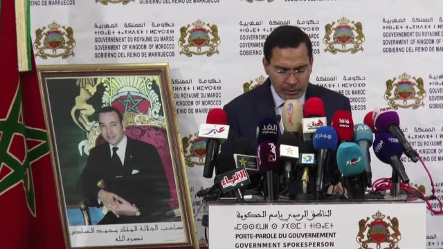 Tunisian Minister of Communications and Spokesperson of the Government Mustapha El Khalfi delivers a speech during a press conference on November 09...