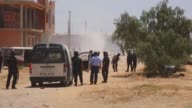 Tunisian police disperse protesters who try to enter the oilproducing Kamour area of Tunisia's southern Tataouine province on May 22 2017 Police on...