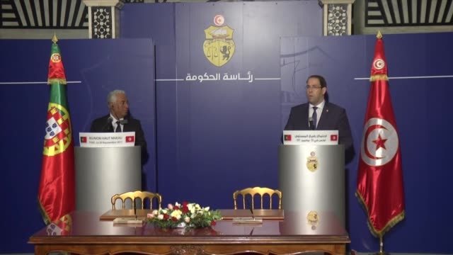 Tunisian Prime Minister Youssef Chahed meets with his Portuguese counterpart Antonio Costa in Tunis Tunisia on November 20 2017