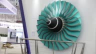 Turbine blades are displayed at the RollsRoyce Holdings Plc booth at the China International Aviation Aerospace Exhibition in Zhuhai China on Monday...