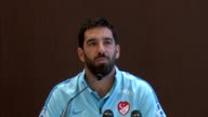 Turkey captain and Barcelona's midfielder Arda Turan holds a press conference in Portoroz Slovenia in June 06 2017 Turkish star midfielder Arda Turan...